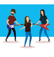 musical band playing instruments vector image vector image