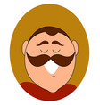 mustache man smiling on white background vector image vector image