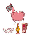 nib design a heart with paint bucket spilling vector image
