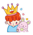 nice boy with crown and cute mouse vector image