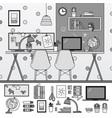 nursery room with toys line monochrome vector image