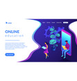 online education isometric 3d landing page vector image vector image