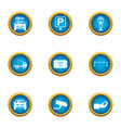 parking site icons set flat style vector image vector image