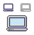 pixel icon laptop in three variants fully vector image