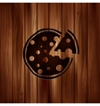 Pizza web icon Wooden texture vector image