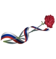 Red carnation flower and ribbon tricolor Russian vector image vector image