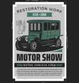 retro vehicles repair garage vintage motors show vector image vector image