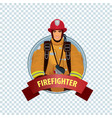 round icon on white background with firefighter vector image vector image
