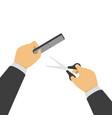 scissors and comb in hands vector image