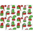 seamless texture with cartoon elf hats vector image vector image