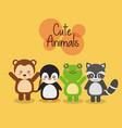 set cute animals wildlife fauna vector image vector image