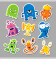 set cute monsters stickers vector image vector image