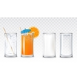 Set icons glasses with water juice and milk vector image vector image