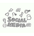social media with icons doodle style vector image