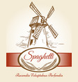 spaghetti pasta bakery label vector image vector image