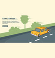 taxi service banner horizontal cartoon style vector image