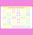 transparent highlight pen rectangle frame set vector image vector image