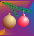 two christmas balls on the tree vector image vector image