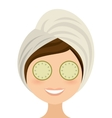 woman female threatment spa icon vector image