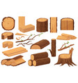 wood industry raw materials realistic production vector image