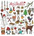 Christmas season doodle iconsanimalsColored vector image