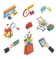 online shopping isometric 3d icons set vector image