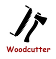 Axe and saw tools silhouette icons vector image