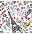 paris france fashion seamless patternsummer vector image