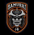 badge of samurai warrior vector image