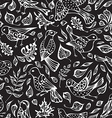 seamless pattern of birds and leaves vector image