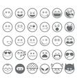 Smiley emoticon line icons set vector image