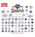 70 handmade sunburst design elements vector image