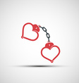 icons of handcuffs in the form of heart vector image