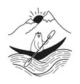 a kayaking canoeing or rafting boat with cute vector image