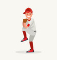baseball pitcher player throws ball vector image