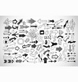 big collection doodle sketch arrows on white vector image vector image
