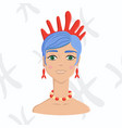 blue-haired girl with coral tiara on astrology vector image