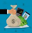 calculator smartphone bills and hands holding vector image vector image