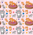 cat on seamless pattern vector image