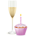 champagne filled flute and a pink birthday cupcake vector image vector image