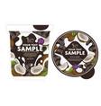 cherry chocolate yogurt packaging design template vector image