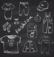 Clothes for baby boy set hand drawn sketch on vector image