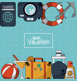 colorful background of enjoy vacation with luggage vector image vector image