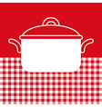 Cooking pot on red and white tablecloth background vector image