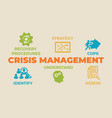 crisis management concept with icons and signs vector image vector image