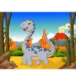 cute dinosaur cartoon with volcano landscape back vector image vector image