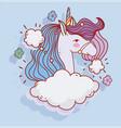 cute unicorn clouds sky fantasy magic cartoon vector image