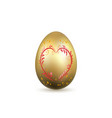 easter egg 3d icon gold egg heart isolated vector image