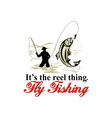 Fly fisherman catching trout with fly reel vector image vector image