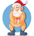funny naked santa claus holding christmas present vector image vector image